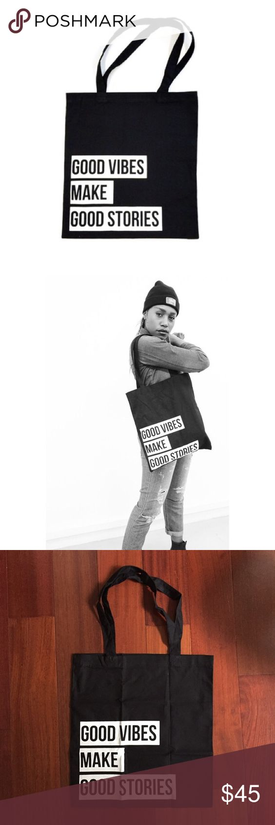GVMGS Screen Print Black Canvas Tote bag GVMGS (Good Vibes Make Good Stories) is a Streetwear boutique from Switzerland. This is a black tote bag with their signature phrase printed. Super Limited Edition and sold out online! Comes with original packaging. GVMGS Bags Totes