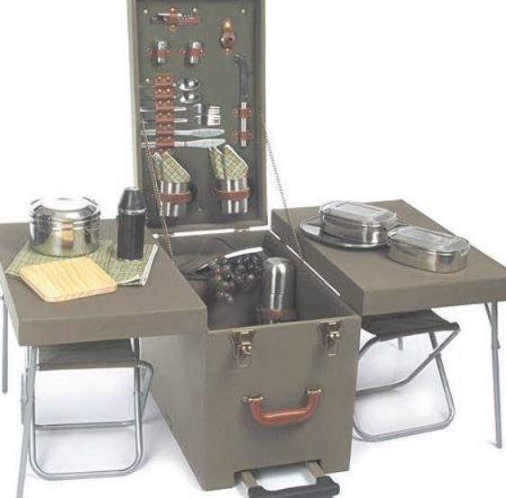 Picknick Set In Wood Trolley Swiss Room Box Camp Kitchen Box Chuck Box