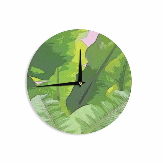 "Oriana Cordero ""Banana Tropics"" Green Pink Wall Clock"