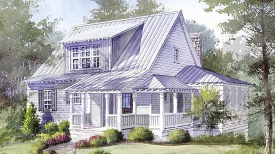 Cottages house plans and mountain houses on pinterest for Beach house plans 1800 sq ft