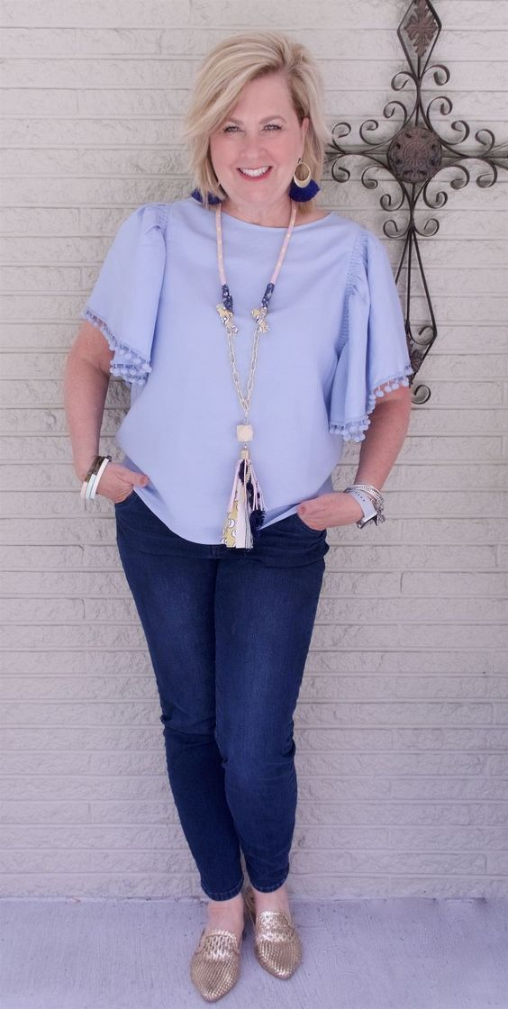 50 IS NOT OLD | FLUTTER SLEEVES AND POMPOMS | FASHION OVER 40 | Statement top | Casual and Comfortable | Crop top | fashion over 40 for the everyday woman