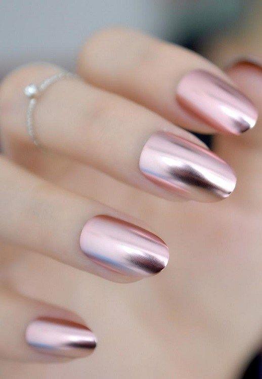 31 Pink Matte Metallic Medium Nail Ideas 2018 2019
