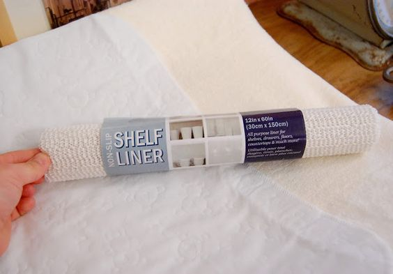Put a shelf liner under your changing pad so it doesn't slid on the dresser - GENIUS! why haven't I thought of this . A must when your babe gets to that squirmy stage. Via My So-Called Home: Budget Storage Ideas For A Small Nursery