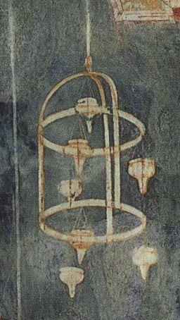 Hanging lamp, verification of stigmata, Giotto, 1300