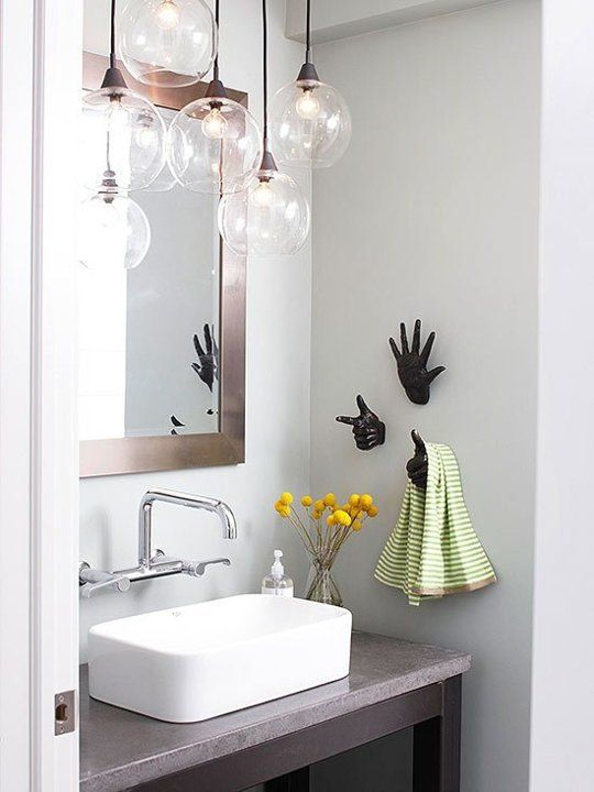 Dat hanging lighting though... Also love the sink! | Brighten Up Your Bath: 8 Super Stylish Lighting Ideas