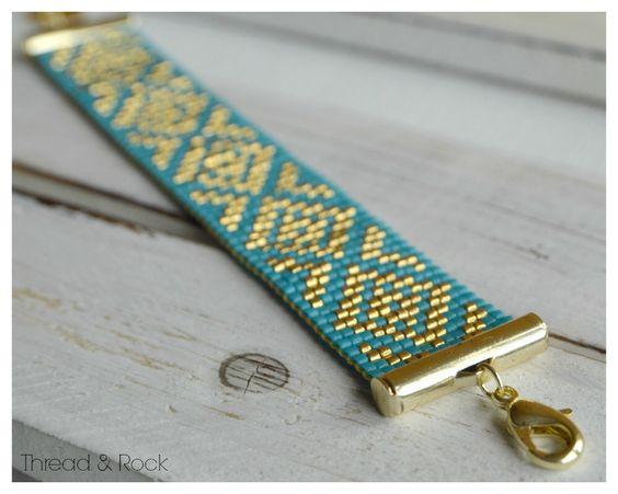 Diamond Delica Beaded Loom Bracelet in Azure Blue & Gold by ThreadAndRock on Etsy https://www.etsy.com/listing/226796455/diamond-delica-beaded-loom-bracelet-in