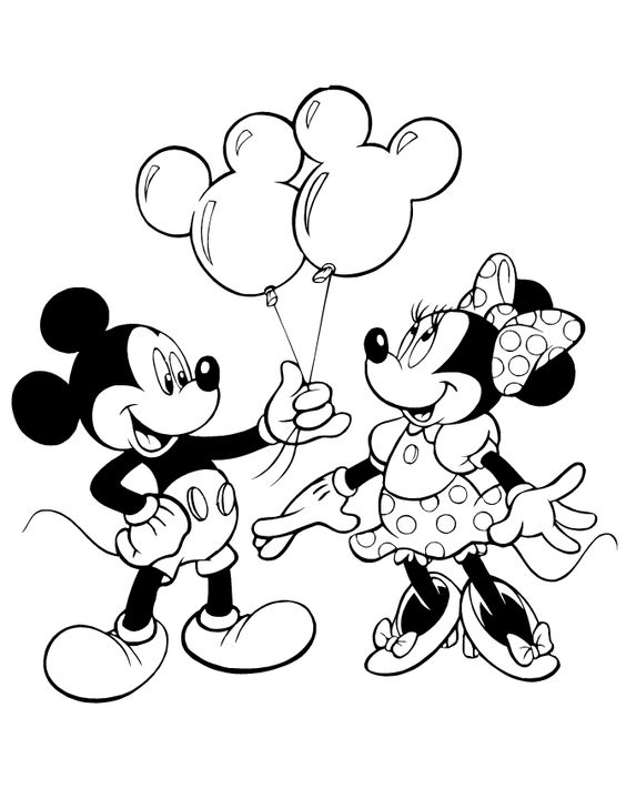 Mickey Giving Minnie Mouse Balloons Coloring Page | Mickey ...