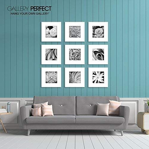 Gallery Perfect 9 Piece White Square Photo Frame Gallery Wall Kit With Decorative Art Prints Hangi Gallery Wall Frames Gallery Wall Kit Decorative Art Prints