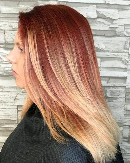 Red To Blonde Ombre Shorthairbalayage Red Blonde Hair Ombre