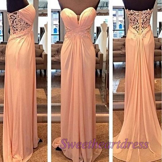 Prom dress 2016, elegant light pink chiffon long sweetheart neckline strapless homecoming dress with small train, modest prom gown, cute dress for teens -> sweetheartdress.s... #coniefox #2016prom