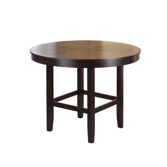 Available in counter and dining height with 48 and 54 inch tops, Legged Pedestal tables pair straight lined architectural bases with round floating tops, built out edge bands and book matched veneer surfaces.