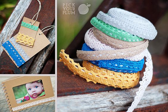 lace tape on cards, tags and albums.