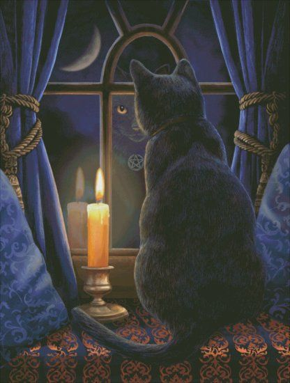 Black cat and candle in the widow. Midnight Vigil - Painting by Lisa Parker. Chart design by Michele Sayetta for Heaven and Earth Designs.