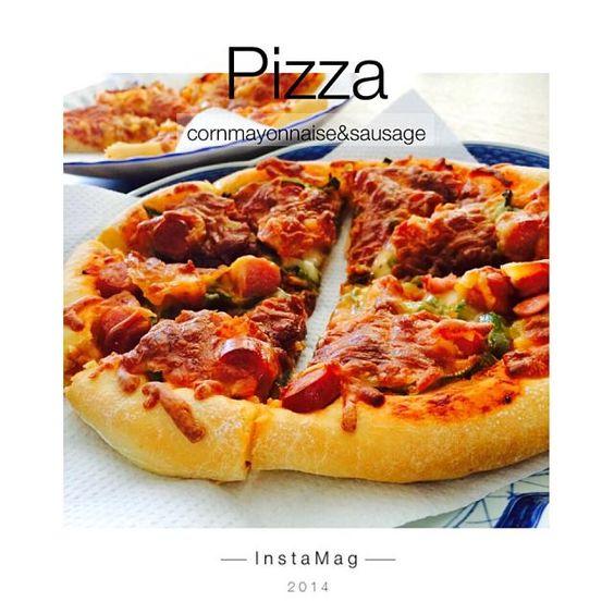 1年ぶりに会う友達と一緒に食べるために生地から、二種類のピザを焼きました(๑•̀ㅂ•́)و✧  コーンツナマヨとソーセージピーマン✨ - 29件のもぐもぐ - ピザ二種類୧⃛(๑⃙⃘⁼̴̀꒳⁼̴́๑⃙⃘)୨⃛ by maaaki1117