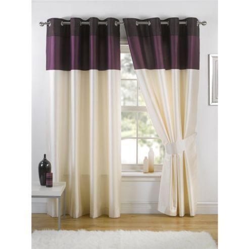KLiving Harmony Aubergine Lined 45x54 Eyelet Curtains | House ...