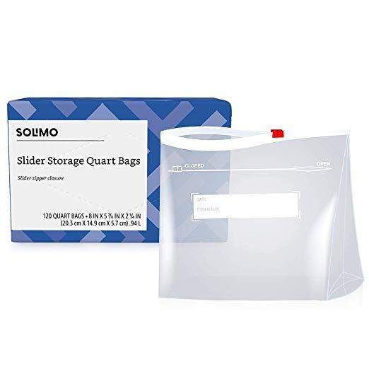 120 Count Solimo Slider Quart Food Storage Bags 7 87 5 Or 6 82