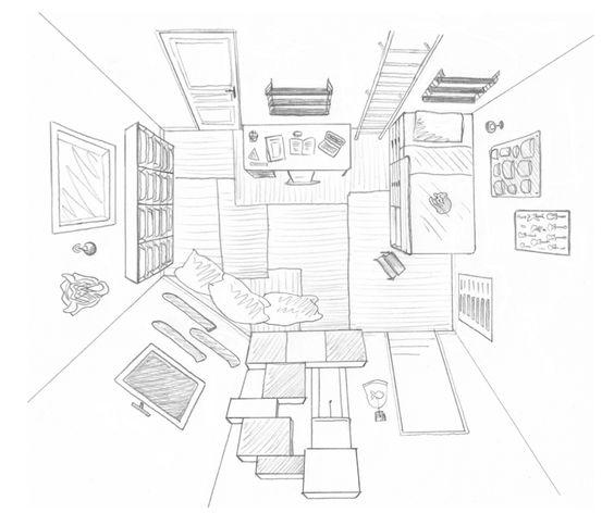 Dessin chambre pré-ado + salle de jeux commune - Vue de dessus ...