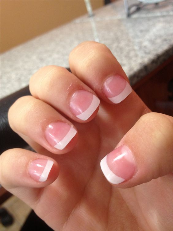 short french tip acrylic nails nailed it pinterest