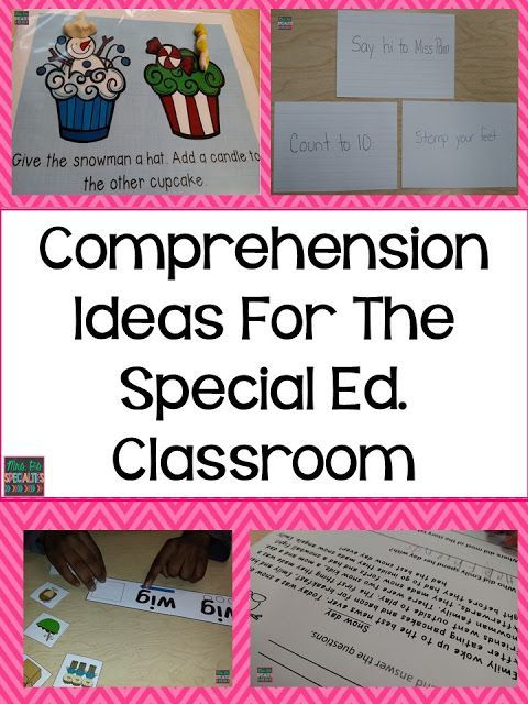 A list of ideas to work on comprehension in a variety of ways for students in special education.