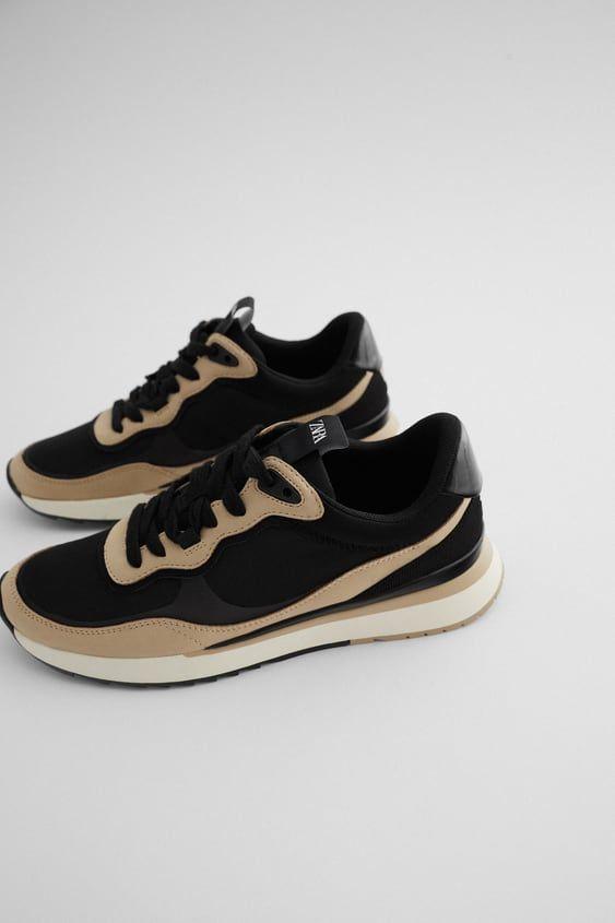Contrasting Mesh Sneakers Sneakers Zara Sneakers Zara Shoes
