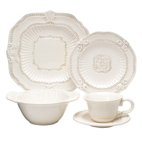American Atelier Baroque 20pc Dinnerware Set Cream Dinnerware