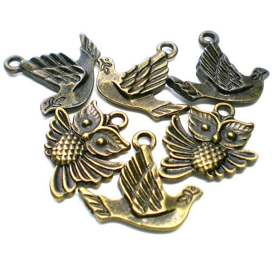 Antique Brass Owl and Bird Charms  6 pieces by jewelry56 on Etsy