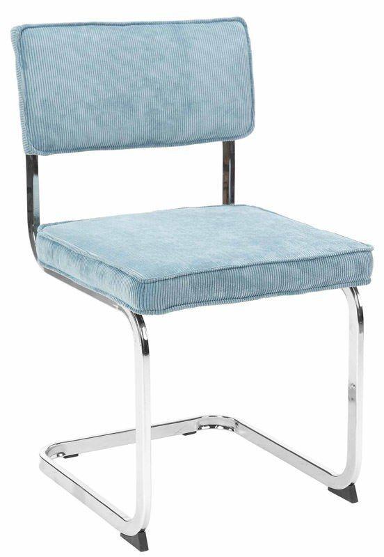 Manu Spisebordsstol - Turkis - Retroinspireret spisebordsstol betrukket med turkis stof og flot stel i metal. Spisebordsstolen har et polstret sæde og ryglæn for optimal siddekomfort. Sælges i pakker med 4 stk.