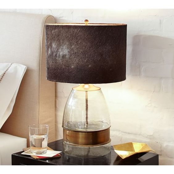 Pottery Barn Bailey Mouth-Blown Glass & Metal Table Lamp ($159) ❤ liked on Polyvore featuring home, lighting, table lamps, glass lighting, metal table lamp, glass table lamps, rustic lighting and pottery barn table lamps
