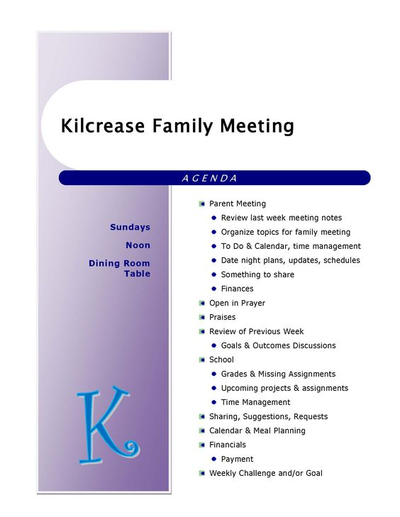 example of our family meeting agenda Get my kids ORGANIZED - example of agenda of meeting
