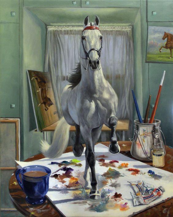 "Saatchi Online Artist: Jeanne Schoborg; Oil, 2011, Painting ""Work In Progress V"" #art #horses"