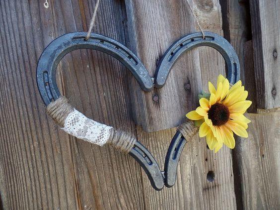 Rustic Sunflower Wedding Horseshoe Heart by DownInTheBoondocks