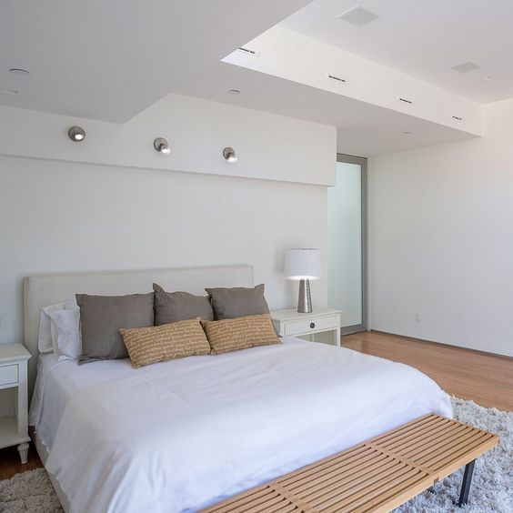 Lair International found this minimalist modern bedroom in a Santa Monica home listed by Laura Brau of Partners Trust.