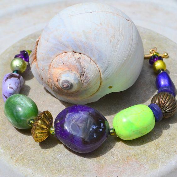 Chunky Beaded Bracelet PuRPLe PASSiON Lime by ColourMadeMeDoIt, $45.00