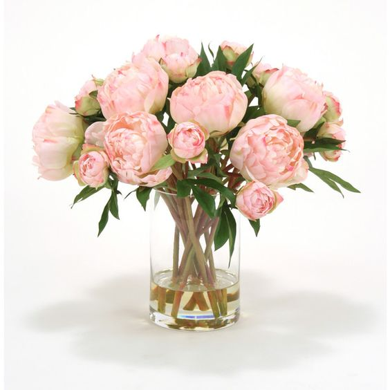 Distinctive Designs Waterlook Silk Peonies in Cylinder Vase (250 CAD) ❤ liked on Polyvore featuring home, home decor, floral decor, flowers, flowers & plants, distinctive designs, flower home decor and flower stems