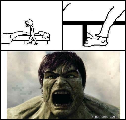 Cuando te gopeas el dedo chiquito del pie te sale lo hulk