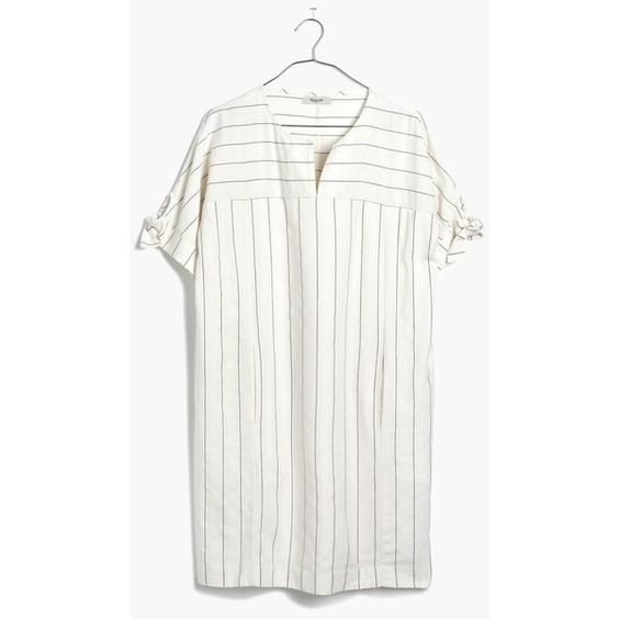 MADEWELL Tie-Sleeve Dress in Stripe (€71) ❤ liked on Polyvore featuring dresses, madewell, bleached linen, white dress, white shift dress, stripe dress, short white dresses and white striped dress