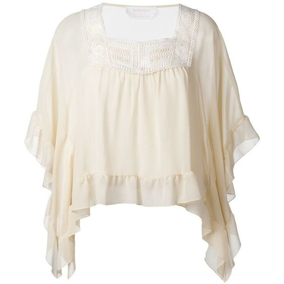 See By Chloé Sheer Frill Trim Blouse (2.225 ARS) ❤ liked on Polyvore featuring tops, blouses, white 3/4 sleeve blouse, sheer white blouse, embroidered blouse, white ruffle blouse and sheer silk blouse
