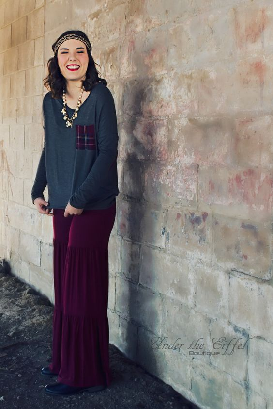 Burgundy Tiered Pants – Under The Eiffel Boutique