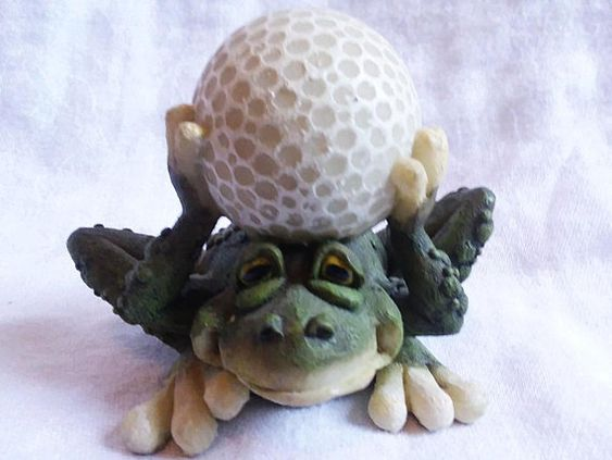 Nature S Window Whimsical Frog And Golf Ball Figurine Green White