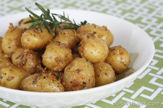 Garlic-Rosemary Roasted Baby Potatoes | Our Best Bites. Harry potter start of term feast!