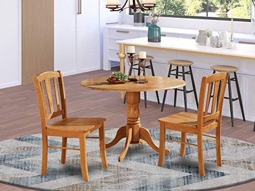 New Dlin3 Oak W 3 Pc Kitchen Table Set Kitchen Dining Nook 2