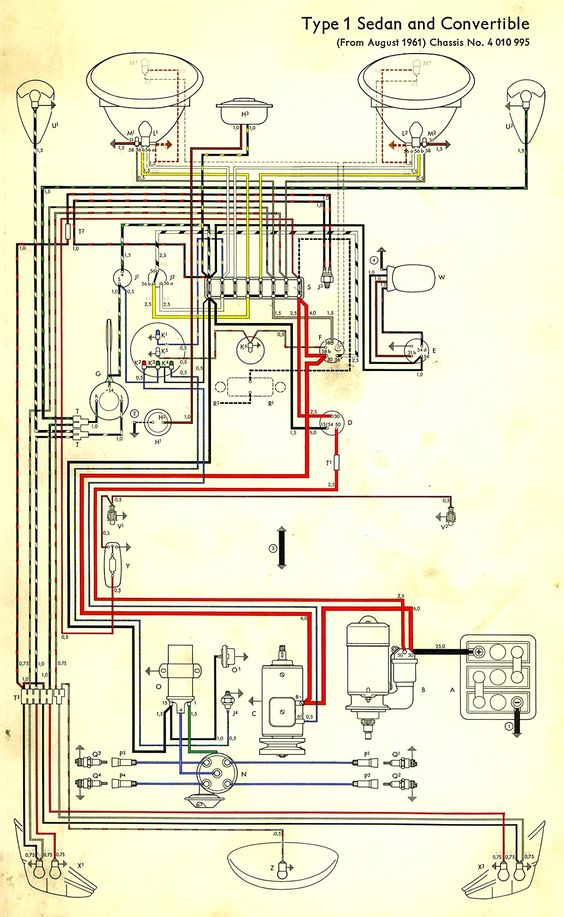 wiring diagram in color 1964 vw bug, beetle, convertible the vw beetle wiring diagram vw bug wiring schematic