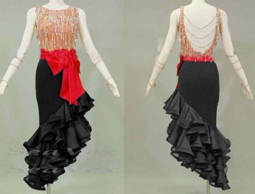 Women-Ballroom-Latin-Rhythm-Salsa-Dance-Dress-US-12-UK-14-Flesh-Beads-Red-Black