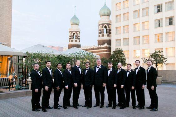 Classic groom + groomsmen wedding idea - groom + groomsmen wore matching black tuxedos {Arte De Vie}