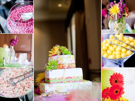 I had so much fun making these centerpieces and loved the way they turned out. The candy bar was a hit too!