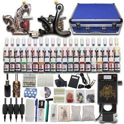 Complete Tattoo Machine Kit 2 Gun Power Supply Case 40 Ink Needle Grip Tip Set