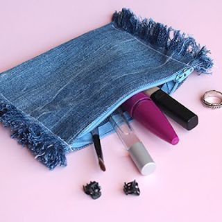 how to make recycled frayed denim pouch