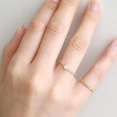 SIENA【シエナ】 一粒ダイヤのミル打ちリング