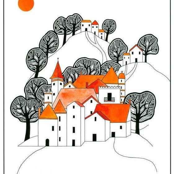 Illustration Art Print, Ink Drawing, Watercolor Painting, Hilltop Village…