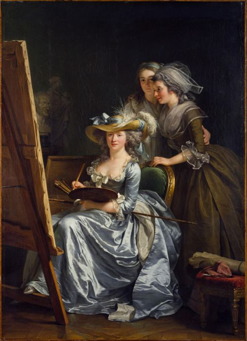 Self portrait with two pupils, 1785.  French painter Adélaïde Labille-Guiard on Wikipedia.